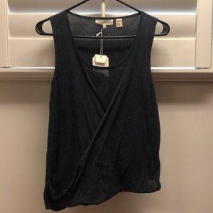 Cotton Navy wrap blouse